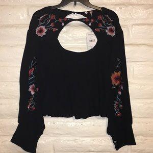 NWT Free People black crop sweater/top size M